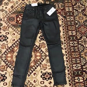 7 for all mankind black coated jeans
